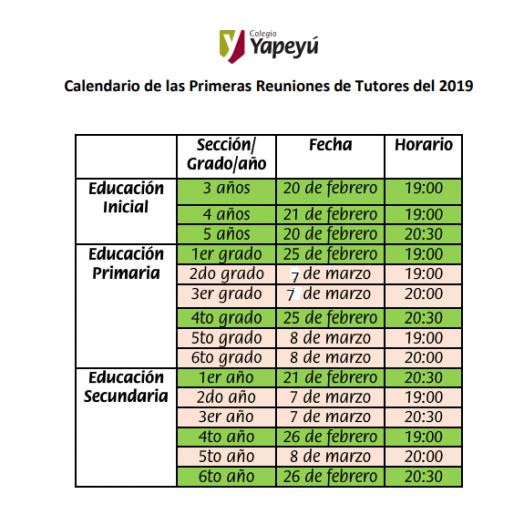 Calendario de reuniones de tutores 2019