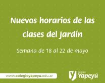 Horarios de clases Jardín semana 18 de mayo
